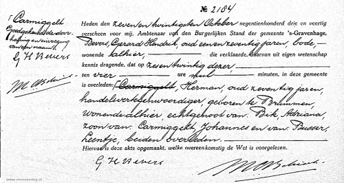 Overlijdensakte Herman Carmiggelt