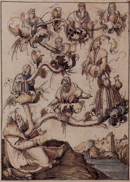 Stamboom van keizer Frederik III (uit: Historia Friderici et Maximiliani, Historia-Meister, ca. 1508-1510)