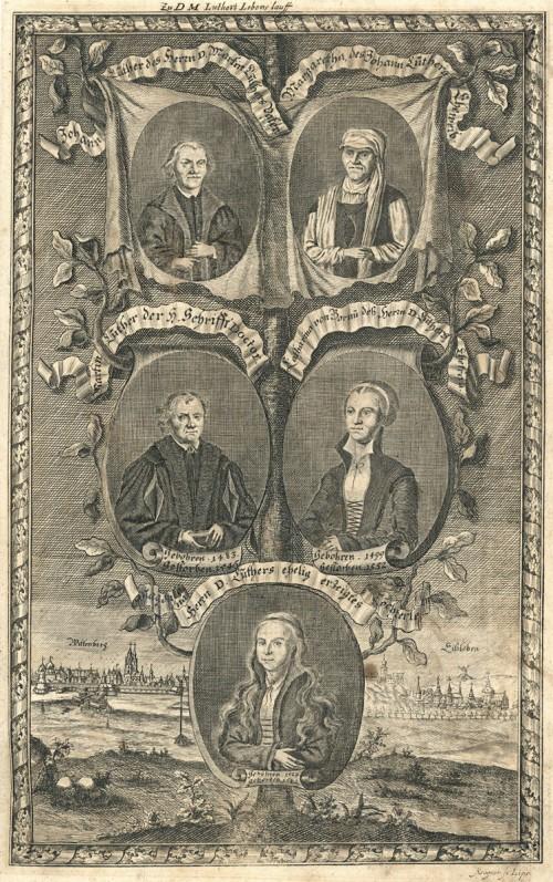 Maarten Luther en zijn directe familie (uit: Biblia Das ist: Die gantze Heilige Schrifft Altes und Neues Testaments, verteutscht durch M. Luthern, 1707)