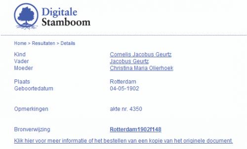 Van de geboorteakte van Cornelis Jacobus Geurtz kan online een kopie worden besteld (digitalestamboom.nl)