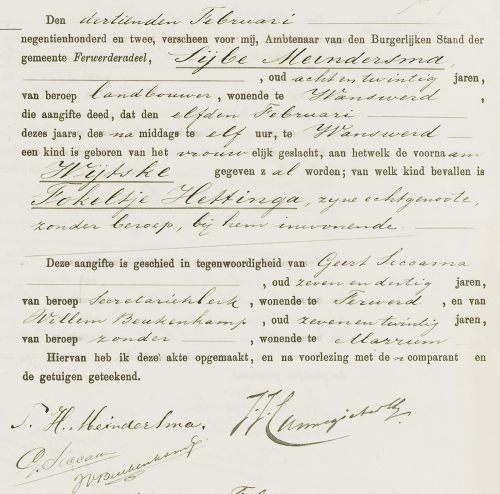 De geboorteakte van Wytske van Dijk-Meindersma staat online (www.allefriezen.nl)