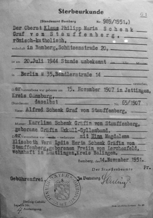 De overlijdensakte van Claus Schenk von Stauffenberg
