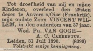 Overlijdensadvertentie Vincent van Gogh