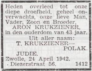 Overlijdensadvertentie Aron Krukziener/Cutzien (Het Joodsche Weekblad, 1 mei 1942)