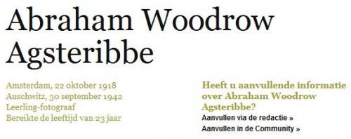 Abraham Woodrow Agsteribbe op het Digitaal Monument Joodse Gemeenschap in Nederland