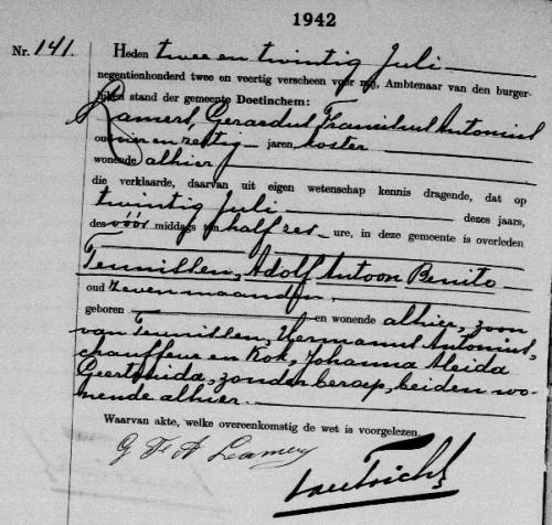 Overlijdensakte Adolf Antoon Benito Teunissen