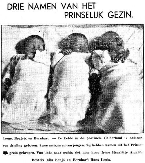 De drieling Irene, Beatrix en Bernhard (Het nieuws van den dag voor Nederlandsch-Indië, 21 augustus 1939)