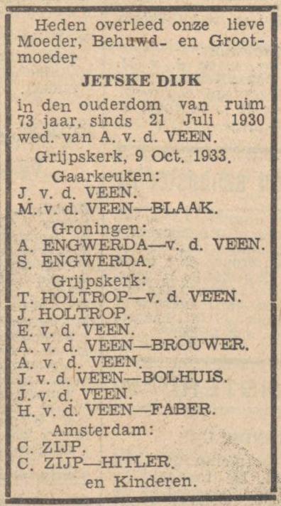 C. Zijp-Hitler in de overlijdensadvertentie van Jetske Dijk (Nieuwsblad van het Noorden, 11 oktober 1933)