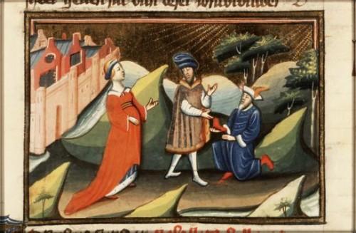 Boaz koopt het bezit van Elimelech en neemt Ruth tot vrouw (Meesters van Otto van Moerdrecht, ca. 1430)