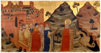 Battista da Vicenza (ca. 1375-1438): Paus Silvester I temt de draak bij de Tarpeïsche rots in Rome