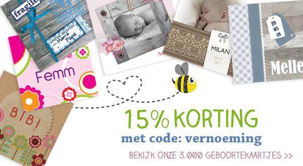Geboortekaartjes - 15% korting met code: vernoeming