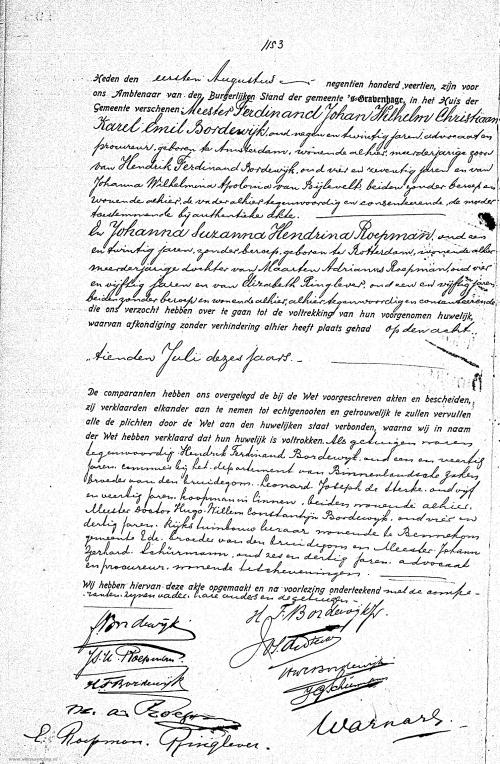 Huwelijksakte Ferdinand Bordewijk en Johanna Roepman