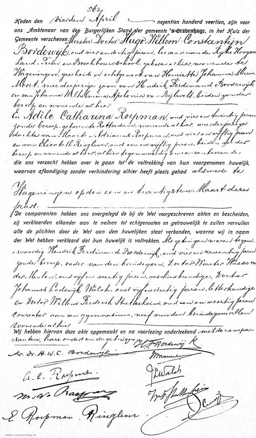 Huwelijksakte Hugo Bordewijn en Adèle Roepman
