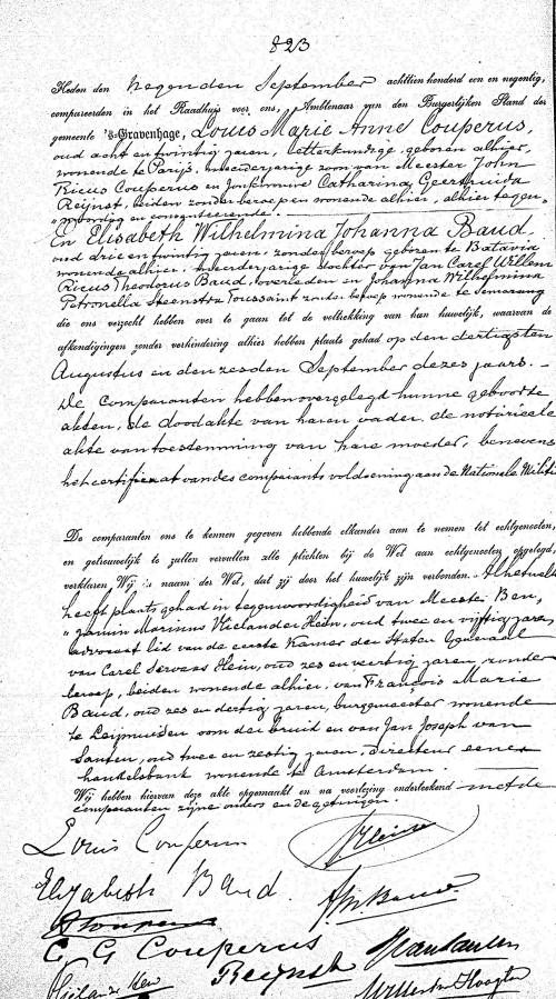 Huwelijksakte Louis Couperus en Elisabeth Baud (gemeente Den Haag)