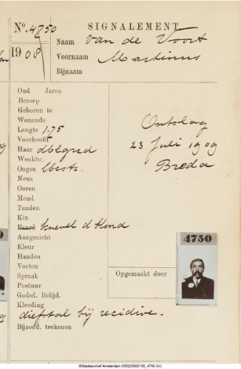 Martinus van de Voort in het signalementenregister