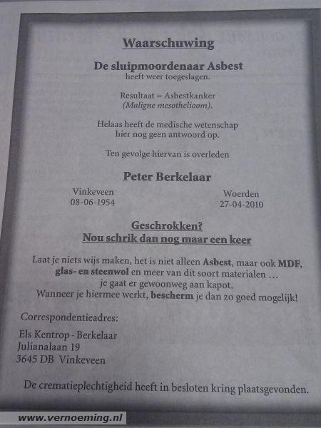 Rouwadvertentie Peter Berkelaar in De Telegraaf
