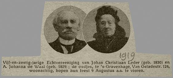 De portretten van Johan Christiaan Leder en Anna Johanna de Waal in de krant ter ere van hun 65-jarig huwelijk (onbekende krant, collectie Veenhuijzen, CBG)