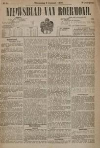 Het Nieuwsblad van Roermond van 9 januari 1878 (Gemeentearchief Roermond)
