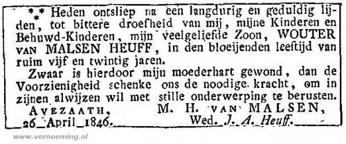 Overlijdensadvertentie Wouter van Malsen Heuff (onbekende krant, CBG)