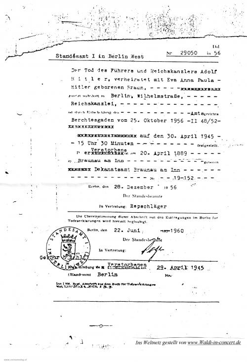 De overlijdensakte van Adolf Hitler