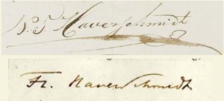 De handtekening van Nicolaas Theodorus Haverschmidt op de geboorteakte van François Haverschmidt (1835) en die van François Haverschmidt op de geboorteakte van Nicolaas Theodorus Clemens Haverschmidt (1866)