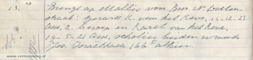 Brengt ap Mollis voor Bur. N. Doelenstraat: Gerard K. van het Reve, 14-12-23 Asd, z. beroep en Karel van het Reve, 19-5-21 Asd, scholier beiden wonende Jos. Israëlkade 166 alhier.