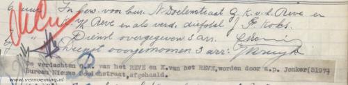 In bew. voor bur. N. Doelenstraat G.K. v.h. Reve en K. v/h Reve en als verd. diefstal J.F. Koks. (...) De verdachten G.K. van het REVE en K. van het REVE, worden door a.p. Jonker (5197) Bureau Nieuwe Doelenstraat, afgehaald.