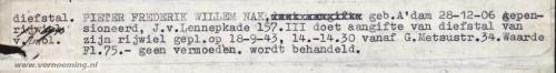 PIETER FREDERIK WILLEM NAK, geb. A'dam 28-12-06 gepensioneerd, J. v. Lennepkade 157. III doet aangifte van diefstal van zijn rijwiel gepl. op 18-9-43, 14.-14.30 vanaf G. Metsustr.34. Waarde Fl. 75,- geen vermoeden. wordt behandeld.
