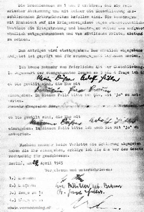 De huwelijksakte van Adolf Hitler en Eva Braun