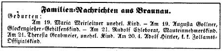 Geboorteadvertentie - op 20 april 1889 te Braunau am Inn geboren: Adolf Hittler(!), zoon van een k.k. Zollamts-Offizial