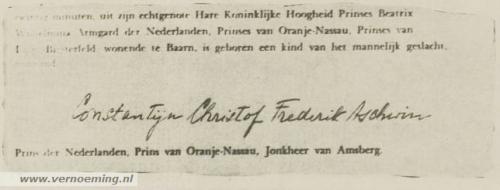 De geboorteakte van prins Constantijn