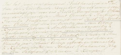 Huwelijksakte Jacob Benedictus van Gelder en Roosje Hompes de Jong (Huwelijksregister 1816, Harlingen, aktenummer 68, p. 68/1-8, AlleFriezen.nl)