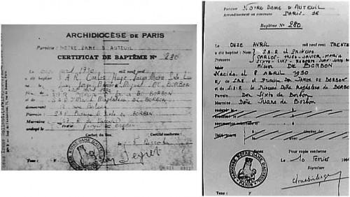 Twee door de Carlisten verspreide doopaktes: Carlos Hugo Javier María Sixto Luís Roberto Juan Jorge Benedicto Miguel