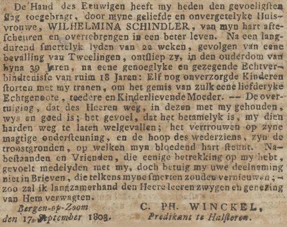 Overlijdensadvertentie Wilhelmina Schindler