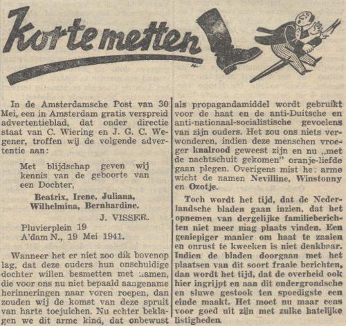 Artikel in het nationaalsocialistische blad De Zwarte Soldaat, 6 juni 1941