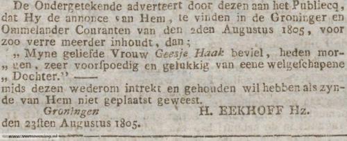 Rectificatie Harmannus Eekhoff