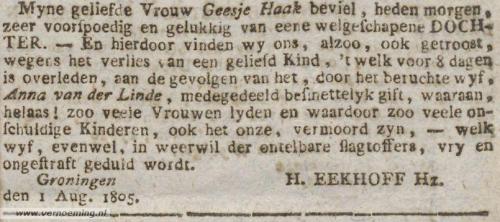 Geboorteadvertentie kind Harmannus Eekhoff en Geesje Haak