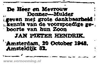Geboorteadvertentie Piet Hein Donner (CBG)