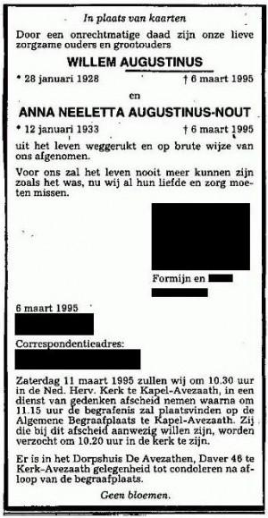 Overlijdensadvertentie Willem Augustinus en Anna Neeletta Noud (CBG, namen en adressen nabestaanden verwijderd)