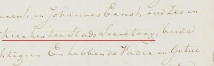 'Klerken ter Stads Secretarij' (Leeuwarden 1835)