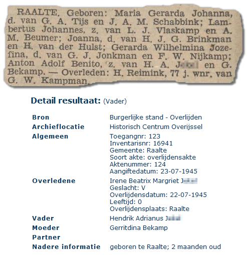 Anton Adolf Benito en zijn zusje Irene Beatrix Margriet (Provinciale Overijsselsche en Zwolsche Courant 21 november 1941 / Genlias)