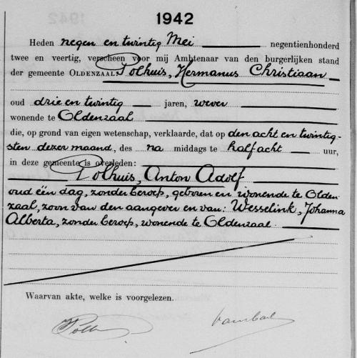Overlijdensakte Anton Adolf Polhuis