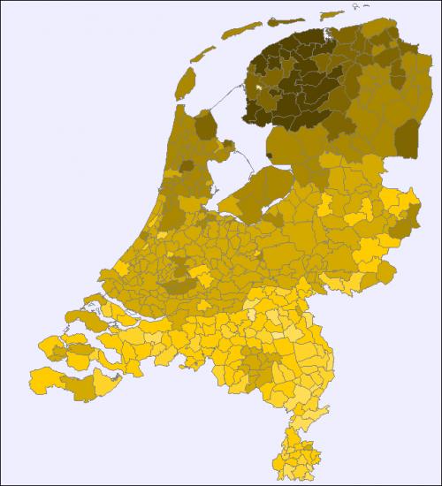 Percentage dragers van de familienaam 'De Vries' per gemeente in 2007 (Nederlandse Familienamenbank)
