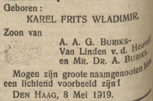 Geboorteadvertentie Pieter Karel Frits Wladimir Buriks (De Tribune, 9 mei 1919)