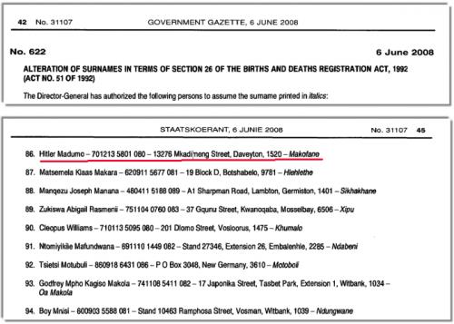 Naamswijziging van Hitler Madumo in Hitler Makofane (Staatskoerant, 6 juni 2008)