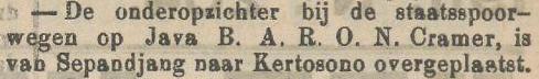 B.A.R.O.N. Cramer (Het nieuws van den Dag voor Nederlandsch-Indië, 4 september 1911)