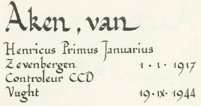 Henricus Primus Januarius van Aken (Erelijst van Gevallenen 1940-1945)