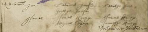 Doopinschrijving Israel Kriep, Brielle (NDG) 4 november 1670. De scan is deels onleesbaar, maar de naam van getuige Dollamina van Wachtendonck is goed te ontcijferen.