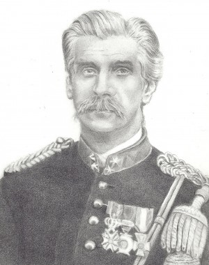Een vroeg voorbeeld van de naam Wilhelminus: Johannes Jacobus Wilhelminus Eliza Verstege, ridder in de Militaire Willems-Orde vierde klasse (1836-1890); getekend door Menke Alberta de Groot