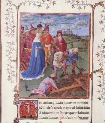 De kruisvinding door keizerin Helena (Turijn-Milaan-Getijdenboek, 15e eeuw, toegeschreven aan Jan van Eyck). Inspiratie voor de Antiliaanse voornamen Invencia de la Santa Cruz en Helena Emperatriz.